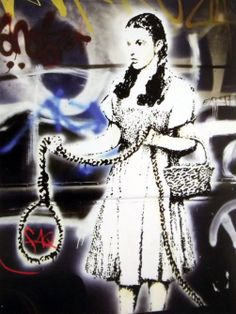 """Banksy image, framed and mounted print: 18 x 14 inches framed price This is """"Dorothy is Judy"""" from the Waldock Gallery in Dublin. Street Art Banksy, Graffiti, Banksy Images, Banksy Prints, Bansky, Tag Art, Urban Art, Bristol, Dublin"""
