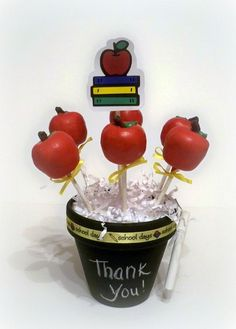 """Apple Cake Pops"" make great Teacher Appreciation or End of the Year Gifts."