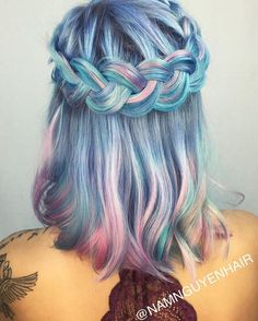 Gorgeous mermaid blue pink & teal hair with beautiful braided crown :) perfect hairstyle | Awesome & crazy hair color dyes ideas | Beautiful and unique hair color | Hair styles to try | Hair inspiration | Dyed hair care & tips at home | Trending in Hair & Beauty | Hair trends