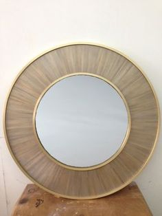 Custom Made Silvered Straw Marquetry Mirror