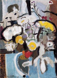 Flowers, Blue and White_Ivon Hitchens Action Painting, Painting & Drawing, Abstract Flowers, Abstract Art, Still Life Art, Modern Artists, Art Plastique, Artist Art, Abstract Expressionism