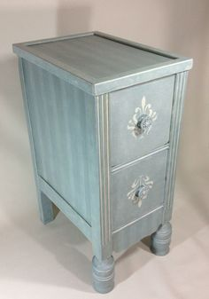 Hand Painted French Shabby Chic Antique 2 Drawer Nightstand Side End Table OOAK on Etsy, $275.00