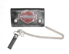 Harley Davidson Motorcycle Vintage Black Leather Biker Trucker Chain Wallet #HarleyDavidson #ChainWallet