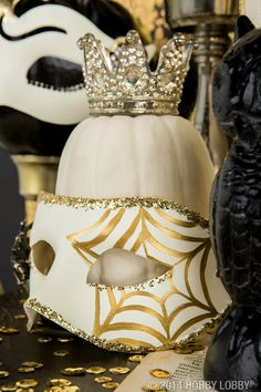 Add a touch of mystery and elegance to your Halloween décor with masquerade masks. LIKE TINY CROWN
