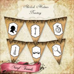Sherlock Holmes Bunting, Printable Party Banner, Detective Mystery Digital Collage, INSTANT DOWNLOAD on Etsy!