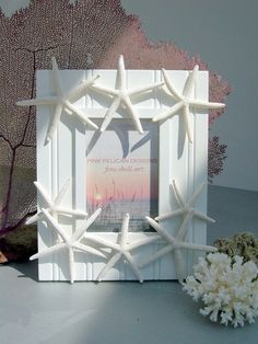 "Beach Decor Starfish Frame, Dancing Starfish  White Bead board frame, 4 x 6""   by Pink Pelican Designs"
