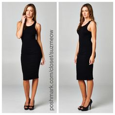New! Black Midi Dress • Sizes S, M, L I am modeling a size S in a different color of the same item! Brand New Black Midi Dress Available in sizes Small, Medium, and Large Flattering bodycon fit The perfect staple piece for your closet- very versatile and easy to dress up or down! 95% Cotton, 5% Spandex Made in the USA  ✅Bundles are discounted✅ No trades No pp Katana Couture  Dresses Midi