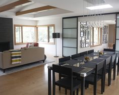Gray Home Exteriors Fitted with White Home Interior: Exciting Modern Dining Room Glen Place Modern Furniture