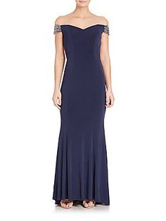 La Femme Jersey Off-The-Shoulder Beaded Gown - Navy - Size