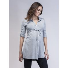 Relaxed Jersey Maternity Shirt in Grey | ISABELLA OLIVER