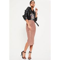 Missguided Gold Metallic Knit Ribbed Midi Skirt found on Polyvore featuring polyvore, women's fashion, clothing, skirts, rose, metallic gold skirt, knit midi skirt, rose skirt, white skirt and missguided skirt