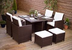New Rattan Wicker Weave Dining Table Cube Set With Deluxe Flip Back Seats- Conservatory And Outdoor Furniture (Brown) Abreo http://www.amazon.co.uk/dp/B00K53O3BO/ref=cm_sw_r_pi_dp_BdEevb19HPRYN