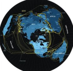 What the Internet really looks like: Each yellow line is one of the major fiber-optic cables that carry Internet traffic around the world. These are the 'plumbing' of the internet, and many are routed undersea Internet Map, Internet Usage, Terre Plate, Fiber Optic Internet, Flat Earth Proof, Submarine Cable, Fiber Optic Cable, Remote Sensing, Artists