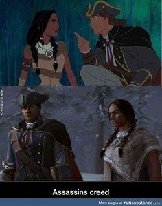 Pocahontas and assassins creed Assasin Creed Unity, Assassins Creed Quotes, Assassins Creed Odyssey, Assasins Cred, Assassin's Creed Black, All Assassin's Creed, Edwards Kenway, Gamer Humor, Nerd