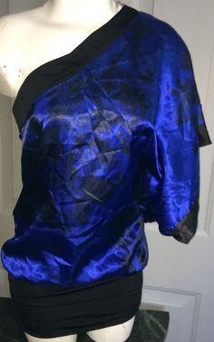 Womens Maurices Studio Y Shirt Dress One Shoulder Kimono Small s Floral Satin   eBay
