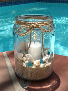Gold Canyon scented candles, jar candles, wickless and flameless scents, candle holders and more. Summer Centerpieces, Beach Wedding Centerpieces, Seashell Centerpieces, Beach Table Decorations, Sea Decoration, Mason Jar Crafts, Bottle Crafts, Mason Jars, Seashell Crafts