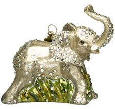 Jay Strongwater Crystal Encrusted Glass Ornaments: Baby Elephant Ornament