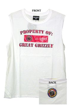 GG White Sleeveless Shirt - North Central Industries - www.greatgrizzly.com - MUNCIE INDIANA WHOLESALE FIREWORKS •Category: Promotional Accessories •Item Number: 1431 •Package Contents: 1 •Weight: 1 lbs Brand Name: Great Grizzly DESCRIPTION: Soft High Quality Great Grizzly Shirt!