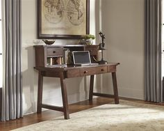 Shop Wassner Vintage Casual Dark Brown Home Office Large Leg Desk with great price, The Classy Home Furniture has the best selection of to choose from Home Office Desks, Home Office Furniture, Cabin Furniture, Furniture Sets, Contemporary Bedroom Furniture, Ashley Home, Desk With Drawers, Dark Brown, Golden Brown