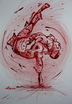 judo-n-6-dessin-d-ibara-a-l-encre-rouge-et-crayon-rouge-sur-papier-aquarelle-300gr-format-30cm-sur-42cm.jpg - Dessin,  42x30 cm ©2015 par IBARA -                                                            Expressionnisme, Papier, Sports, judo
