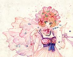 anime girl with flowers and beads