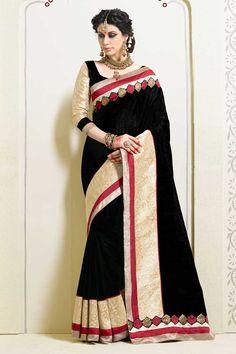 Buy Black Art Silk Saree with Blouse Online for women. Indian Designer Sarees, Designer Sarees Online, Designer Sarees Collection, Saree Collection, Traditional Sarees, Traditional Outfits, Black Art, Party Wear Sarees Online, Ethnic Sarees