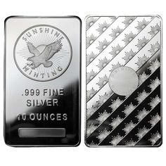 Lot of 2 - 10 oz Sunshine Mint Silver Bar .999 Fine in Coins & Paper Money, Bullion, Silver   eBay