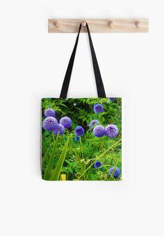 #Blue #Allium #Flowers by Judi Saunders. #Totebag