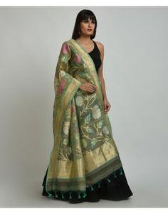 Beige-Green Banarasi Zari Hand Woven Dupatta With Crop Top & Skirt