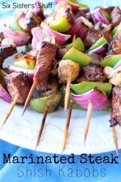 """Marinated Steak Shish Kabobs Recipe. Verdict: josh said over and over how much he liked it. """"Favorite marinade"""" was said. :)"""