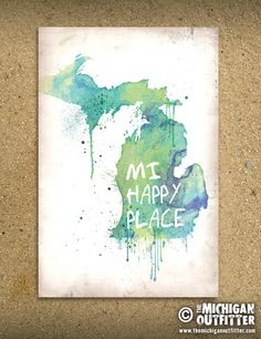 Michigan Watercolor Postcard – The Michigan Outfitter | Michigan T-Shirts & Michigan Stickers