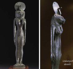 AN EGYPTIAN FINELY MODELLED BRONZE FIGURE OF SEKHMET   SAITE PERIOD, CIRCA 6TH CENTURY B.C.
