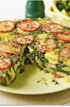 Low FODMAP and Gluten Free Recipe - Potato, spinach and tomato tortilla