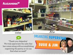 If a Cluttered Pantry is Stressing You Out, Let Susie & Jim (Power Productivity Program Superstars) Inspire YOU! Coin Couture, Small Shelves, Pantry Organization, Staying Organized, Make Time, Time Management, Storage Solutions, Cool Kitchens, A Team