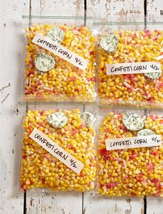Preserve the summer sweetness of fresh corn in individual freezer bags with red peppers and onions. The DIY veggie mix gets an added flavor boost from homemade parsley-chive butter. Corn Recipes, Veggie Recipes, Great Recipes, Freezer Cooking, Freezer Meals, Cooking Recipes, Freezer Recipes, Freezer Meal Party, Freezable Meals