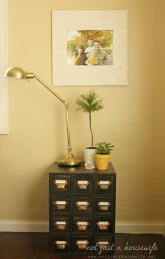 How to build a card catalog side table #DIY #sidetable