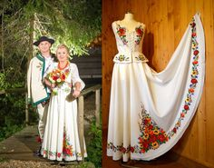 Poland: handpainted weddng dress from the region of Podhale Traditional Wedding Attire, Traditional Dresses, Polish Wedding, Polish Folk Art, Folk Costume, Costumes, Happy Wife, Historical Clothing, Wedding Gowns
