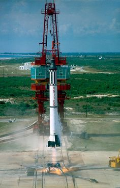 A Mercury capsule launcing aboard an Atlas booster.
