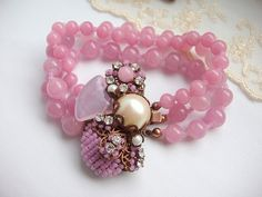 Pastel Pink Bracelet with Vintage Beads and Crystal by mdmButiik, $126.90