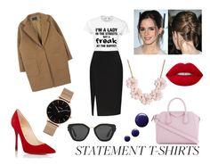 """Work Wear: Statement T-Shirts"" by eduarda-farias on Polyvore featuring moda, Givenchy, Christian Louboutin, J.Crew, Emma Watson, Topshop, Prada e CLUSE"