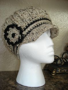 Your place to buy and sell all things handmade Crochet Newsboy Hat, News Boy Hat, Cloche Hat, Black Trim, Neck Warmer, Oatmeal, Winter Hats, Beanie, Classy