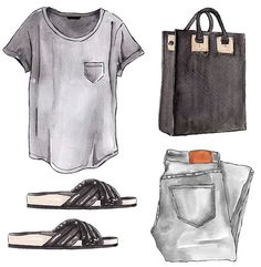 "More illustrations LINE BOTWIN ""girly illustrations "" Good Objects - Grey + Black outfit Arte Fashion, Look Fashion, Fashion Outfits, Emo Outfits, Lolita Fashion, Fashion Boots, Grey Jeans, Grey Shirt, Jean Grey"