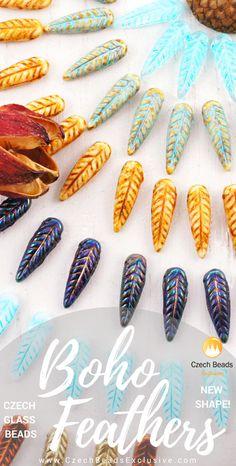 Czech Glass Bird Feather Wing Beads - New Shape | SAVE it!| www.CzechBeadsExclusive.com #czechbeadsexcluisve #czechbeads