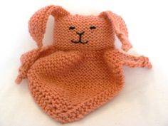 Handknit Small Papaya Bunny Blanket Toy by TailsandSnouts on Etsy, $23.00
