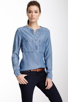 Long Sleeve Hi-Lo Denim Shirt from HauteLook on shop.CatalogSpree.com, your personal digital mall.