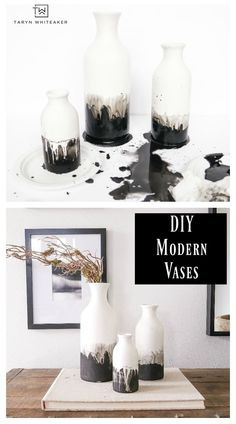 DIY Black and White Modern Ceramic Vases - Taryn Whiteaker Learn how to make these DIY Black and White Modern Ceramic Vases, grab matte ceramic vases at the craft store and use black chalk paint with a water color effect. 10 minute craft anyone can do. Decor Crafts, Home Crafts, Diy Home Decor, Diy Crafts Vases, Upcycled Crafts, Fall Crafts, Room Decor, Diy Bottle, Bottle Crafts