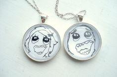 Couple Necklace Set Derp and Derpina Meme Pendants by RIXalien, $20.00 http://ibeebz.com