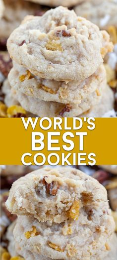 The World's Best Cookies! These are cornflake cookies with coconut and pecans yet have the taste of a shortbread cookie. Kitchen sink cookies are SO simple to make and you can add anything else you like! Cornflake Cookies Recipe, Cornflake Recipes, Coconut Cookies, Shortbread Cookies, World's Best Cookie Recipe, Amazing Cookie Recipes, Simple Cookie Recipes, Worlds Best Cookies, Best Cookies Ever