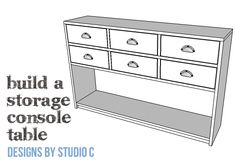 DIY Plans to Build a Storage Console Table Not only is this console table built using off-the-shelf boards, but it has lots of storage possibilities! The DIY p Shelf Board, Shelf Dividers, Drawer Shelves, Diy Drawers, Back Pieces, Diy Furniture Plans, Table Plans, Diy Table, Woodworking Plans