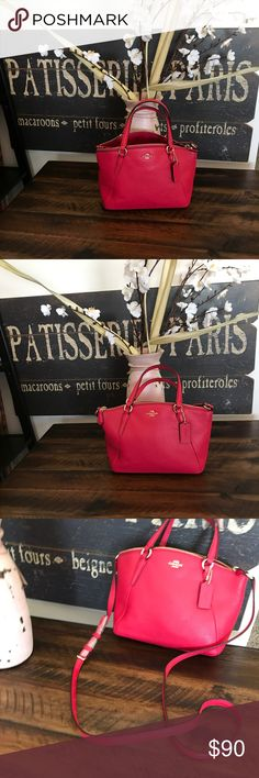 """Mini Coach Kelsey (bright pink) Details Pebble leather Zip closure, fabric lining Open compartment Removable strap with 23"""" drop for shoulder or crossbody wear 10 3/4"""" (L) x 6 3/4"""" (H) x 3"""" (W) Coach Bags"""